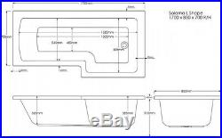 Moods White LH L Shape 27 Jet Whirlpool Shower Bath Jacuzzi Spa + Free LED Light