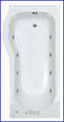 New Trojan 8 Jet P Shaped Whirlpool Shower Bath Screen and Panel Jacuzzi Spa