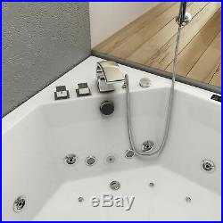 New Whirlpool Bath Shower Spa Jacuzzis17Massage Jets Corner Double Ended Bathtub