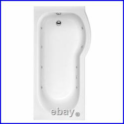 P Shape 1700mm Jacuzzi Type Spa Bath, Panel Screen with Whirlpool 8 jets & Light