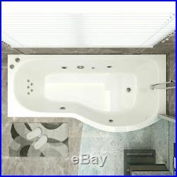 P Shape Jacuzzis Shower SPA Bathtub 9 Jets Whirlpool Bathtub With Screen Right