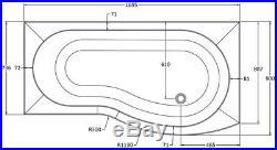 P Shape RH 1700x900 Whirlpool Jacuzzi Bath Vitura Jets Front Panel Ozonator LED