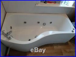 P Shape Shower Bath Whirlpool 8 Jet Spa Jacuzzi Relax Bathroom