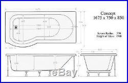 P Shaped Shower Bath 23 Jet Whirlpool Spa System Glass Screen Jacuzzi