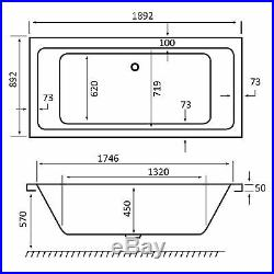Quantum Duo 1900 x 900mm 12 Jet Whirlpool / Jacuzzi Bath & Light Double Ended