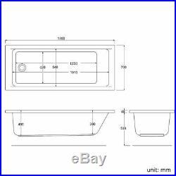 Rectangle Single End Whirlpool Bathtub Corner Spa Jacuzzi Bath 1700700mm