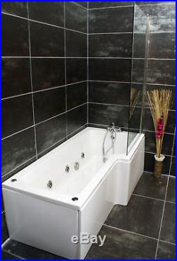 Right Hand L Shape Jacuzzi Type Spa Bath & Screen with Whirlpool & Light
