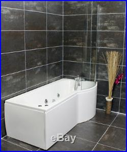 Right Hand P Shape Jacuzzi Type Spa Bath & Screen Whirlpool & Optional Light