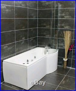 Right Hand P Shape Jacuzzi Type Spa Bath & Screen Whirlpool & Optional Light