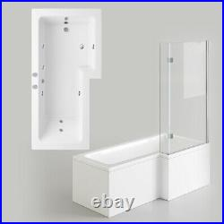Right/Left L Shape Jacuzzi Shower Bathtub +Whirlpool +Waste+Light+1pillow 1700mm