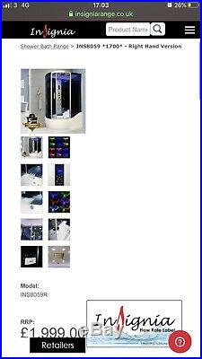 Steam shower bath Cabin Jacuzzi Whirlpool Insignia INS8059 1700