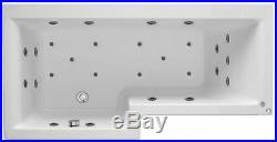 Supercast White LH L Shape 27 Jet Whirlpool Shower Bath Jacuzzi + Free LED Light