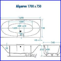 Trojan Algarve 12 Luxury Slimline Jet Whirlpool Bath 1700 x 750 mm Jacuzzi Spa