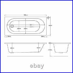 Trojan Cascade 1700 x 750mm 12 Jet Whirlpool / Jacuzzi Bath With LED Light