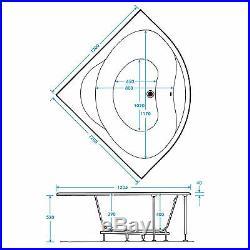 Trojan Laguna 1200 x 1200mm Corner 12 Jet Whirlpool / Jacuzzi Bath & LED Light