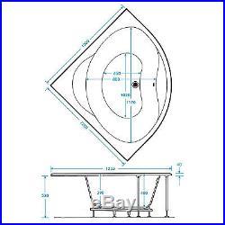 Trojan Laguna 1200 x 1200mm Corner 8 Jet Whirlpool / Jacuzzi Bath