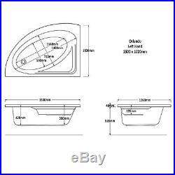 Trojan Orlando 1500 x 1020mm LH Corner 12 Lux Jet Whirlpool/Jacuzzi Bath & Light