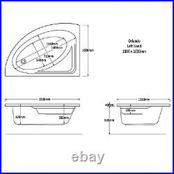 Trojan Orlando 1500 x 1020mm LH Corner 8 Jet Whirlpool / Jacuzzi Bath & Light