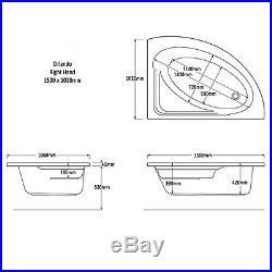 Trojan Orlando 1500 x 1020mm RH Corner 12 Jet Whirlpool / Jacuzzi Bath & Light