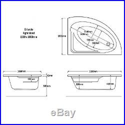 Trojan Orlando 1500 x 1020mm RH Corner 12 Luxury Jet Whirlpool / Jacuzzi Bath