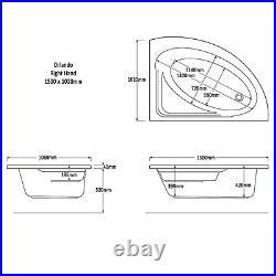 Trojan Orlando 1500 x 1020mm RH Corner 8 Jet Whirlpool / Jacuzzi Bath with Panel