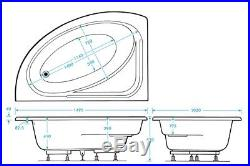 Trojan Orlando Offset Corner 11 Jet Whirlpool Bath Offset Corner Jacuzzi Spa