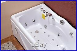 Whirlpool Bath LED Jacuzzi Massage Jets Shower 168x85cm Rectangle SPA Waterfall