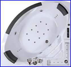 Whirlpool Corner Bath SPA Jacuzzi Massage water Jets Shower LED