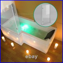 Whirlpool Jacuzzi Left Hand L Shape Shower Bathtub With Waste and Light 1700mm