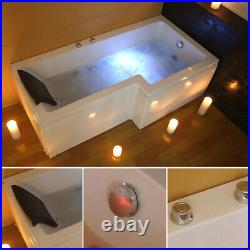 Whirlpool Jacuzzi Right Hand L Shape Shower Bathtub With Waste and Light 1700mm