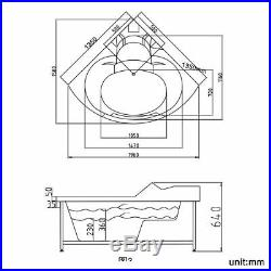 Whirlpool Spa Acrylic Shower Jacuzzis Massage Corner Bathtub Double Ended 1350mm
